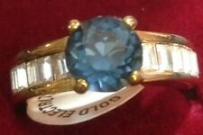 Gold Plated Ring Size 9 Blue & Crystal Stones Seta USA