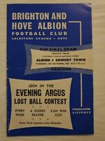 BRIGHTON and Hove Albion v Grimsby Town football programme 1965-66 division 3