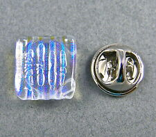 TIE TACK DICHROIC GLASS Flair Pin Moonstone Blue Formal Wear Striped Textured