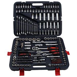 216pc Socket Set Screwdriver Bits Ratchet Handle Torx 1/2'' 1/4'' 3/8'' Tool Kit