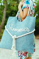 Large Canvas Shoulder Tote Beach Bag With Cotton Rope Handles, Outdoors, Pool.