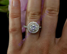 beautiful 2.5ct round cut dvvs1 diamond 14K white gold over weds engagement ring