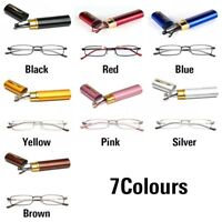 Unisex Metal Reading Glasses Spring Hinge With Tube Case +1.0~+4.0 Strength~