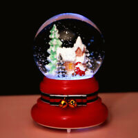 Christmas Santa Claus Musical Snow Globe W/ Bell Crystal Ball Glitter LED Light