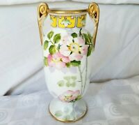 Antique Hand Painted Vase Nippon Morimura Bros Green M Double Handle c1910-1921