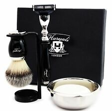 CLASSIC SHAVING SET Triple Edge Razor & Synthetic Brush MEN'S GROOMING KIT