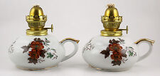 Pair Vintage Kelvin China Floral Oil Lamps with Handle NO Chimneys