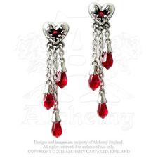 Alchemy - Bleeding Heart - Pewter and Crystal Dropper Earrings