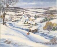 VINTAGE CHRISTMAS STREAM VILLAGE BRIDGE CHURCH MOUNTAINS SNOW TREE GREETING CARD