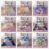 3D Sailor Moon Anime Print Bedding Set Duvet Cover Quilt Cover Pillow Case 3PCS