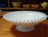 Fenton Silver Crest Scalloped White Milk Glass Serving Bowl, 10.5 Inches
