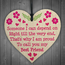 Depend On Best Friend Friendship Home Family Gift Hanging Plaque Present Sign