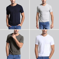 Men Short Sleeve Shirt Bamboo Fiber top Round & V Neck all size US S-3XL 8 color