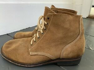 UNBRANDED Suede Leather Boondocker Work Military Style Boots Tan Sz 12