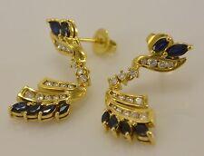 Brillant Ohrringe aus 750er 18 K Gelbgold mit ca.0.84 ct. Brillanten & Saphir
