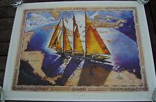 "LIMITED EDITION ""SCHOONER ADIX"" CARIBBEAN MAP PRINT/POSTER-WULFO-1999"