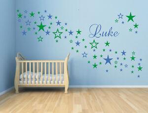 Wandtattoo * 90 Sterne * mit Wunschnamen * Name * Kinderzimmer * 2 Farben *
