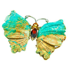 Hand Carved Turquoise 14k yellow Gold Butterfly Pin