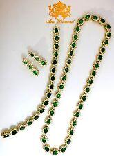 Magnificent 70.72CT Natürlich Tsavoriten Diamant Armband Ohrringe Halskette