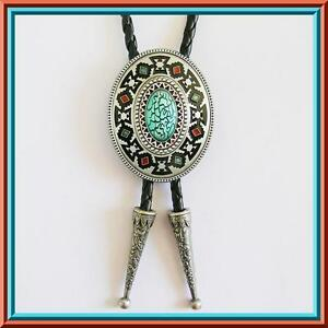 BRAND NEW SILVER PLATING OVAL AZTEC RODEO WESTERN COWBOY BOLO TIE