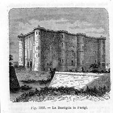 Stampa antica PARIGI Paris LA BASTIGLIA 1889 Ancien Gravure Old Print