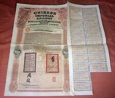 Cinese Imperial ferroviaria 1907 Cantone Kowloon ferroviaria £ 100 condividere certificato (B)