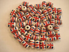 40x Union Jack Cylinder Shape Hand Made Ceramic Beads for craft/Jewellery making