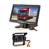 "18LED Nachtsicht CCD Rückfahrkamera Kamera + 7"" Auto Monitor Rückansicht 12V/24V"