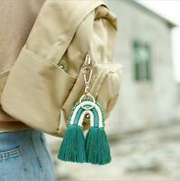 Rainbow Weaving Tassel Keychain Handmade Keyring Bag Charm Hanging Jewelry Gifts