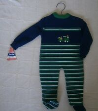 Vintage Baby Knitted Suit - Age 6 months - Navy/Green - Train Motif - New