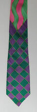 Hand painted silk tie by Dunford Wood green and purple check IMPERFECT