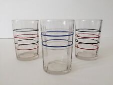 VINTAGE 1930'S ART DECO STRIPED MULTICOLOR JUICE GLASSES SET OF 3