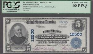 FR.#609 1902 PB $5 CHARTER #12500 PCGS CHOICE ABOUT NEW 55PPQ.