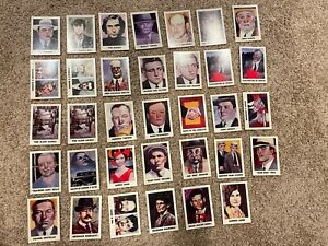Lot of 34 True Crime Series 1 Trading Cards - Capone, Siegel, Bundy