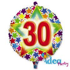 PALLONCINO 30 ANNI mylar 45 cm multicolore Addobbi Festa adulti 30° compleanno