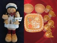 "Gingerbread 26"" Man and Pier 1 Imports Dinnerware Set 21 for 6 Italy Excellent"