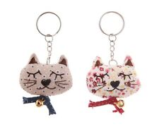 BNWT gorgeous fabric cat keyrings, handmade, everyone different, stocking filler
