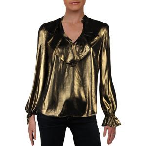 NWT Rachel Zoe Gold Metallic Ruffle Top Small
