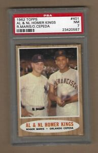 1962  TOPPS   AL  &  NL  HOMER  KINGS   MARIS  # 401   PSA  7