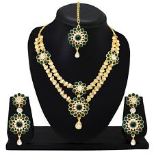 Indian Wedding   Jewelry Bridal Green Necklace Set Earring Tikka Gold Plated