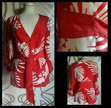 NUOVO Monsoon 100% Seta Rosso E Bianco Kimono Camicetta. Taglia 8