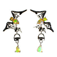 Unheated Pear Fire Opal Rainbow 6x4mm Black Spinel 925 Sterling Silver Earrings