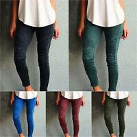 Womens Slacks Pants High Waist Slim Stretch Trousers Leggings Jeggings Plus Size