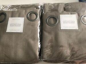 Set Of Restoration Hardware Perennials Grommet Drapes Textured Linen Weave Sand