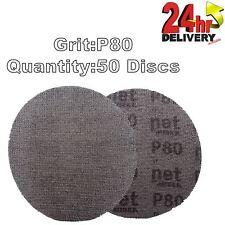 "Mirka Autonet 150mm 6"" Sanding Mesh Disc P80 50 Discs Paintwork Dust Extraction"