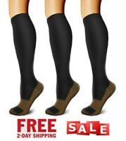 3 PAIRS - Compression Socks Wide Calf Plus Size Knee High Support Socks US STOCK