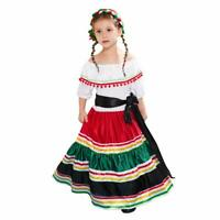 Girls Mexican Senorita Costume Fancy Dress Cosplay Halloween Party Outfit