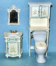 Hand Painted 4 Piece Bathroom Set Dollhouse Miniatures