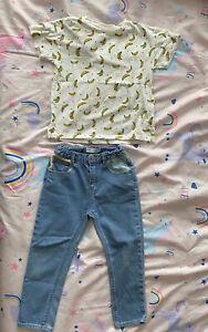 Zara Girl Jeans & T Shirt Outfit Size 4-5 Banana