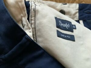 Drake's London Mens Navy Cotton Single Pleat Cotton Trouser 30x 29.5 RRP £295